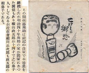 〈こけしの郷愁・7〉の表紙  および6頁の相川忠次郎に関する部分