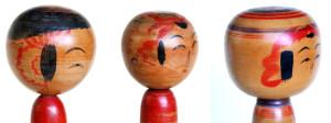 弥治郎系の耳 右より 新山久治、佐藤栄治、佐藤喜一 栄治親子の「耳」は鬢飾りの変型