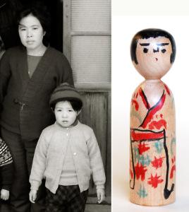 右 : 昭和42年の木の実の描彩 左 : 阿部陽子と木の実(満5歳) 昭和43年1月