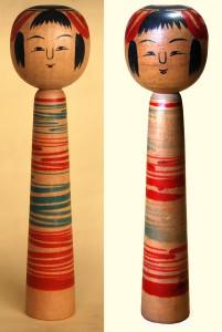 〔右より 22.8cm(昭和15年)、22.8cm(昭和36年)(橋元四郎平旧蔵)〕 左は右のこけしの戦後の復元