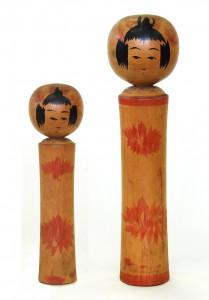 〔右より 24.8cm、18.8cm(昭和14年9月)(日本こけし館)〕 深沢コレクション