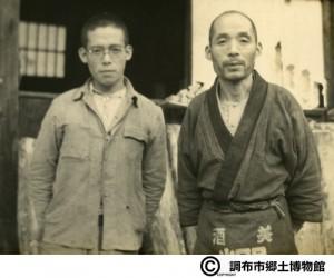 左:高橋直次 右:高橋武蔵 昭和17年11月14日加藤文成撮影