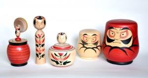 木地玩具、こけし、えじこ、達磨2種 (橋本正明)