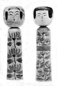 右より 肘折(佐藤周助) 同(横山仁吉)  〈日本郷土玩具・東の部〉